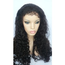 14 t/m 24 inch Indian remy  - front lace wigs - curly - haarkleur 1B - direct leverbaar