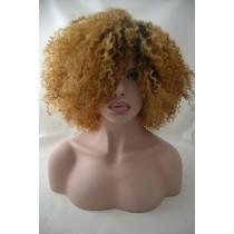 Handgemaakte pruik 8 - afro kinky (kinky curl) - haarkleur goudblond - exclusief - direct leverbaar