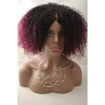 Handgemaakte pruik 14 - afro kinky (kinky curl) - natuurlijke kleur & burgundy - exclusief - direct leverbaar