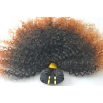 10 t/m 24 inch - Braziliaans haar - afro kinky (kinky curl) - natuurlijke haarkleur & koper oranje - exclusief - op voorraad